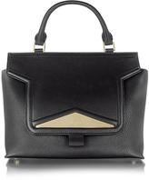 Vionnet Mosaic 30 Black Leather Medium Satchel Bag w/Shoulder Strap