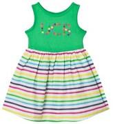 Benetton Jersey Dress With Multi Colour Stripe Skirt Green Multi