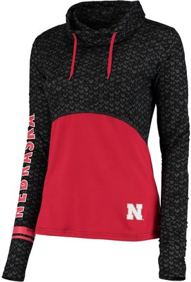 Colosseum Women's Black/Scarlet Nebraska Cornhuskers Scaled Cowl Neck Pullover Hoodie