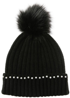 Miss Shop Pearl Detail Fold Up Beanie With Pom