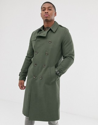 Asos Design DESIGN shower resistant longline trench coat with belt in khaki-Green