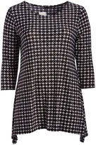 Glam Black & White Geometric Gingham Sidetail Top - Plus