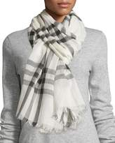Burberry Gauze Giant Check Scarf, Ivory