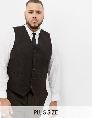Gianni Feraud Plus slim fit brown donnegal wool blend suit vest