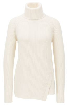 HUGO BOSS Asymmetric Front Buttoned Sweater In Cotton With Cashmere - Open Blue