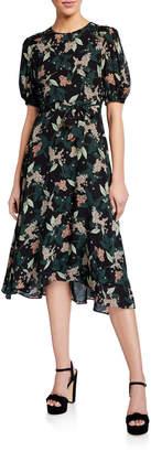 Donna Morgan Short Puff-Sleeve Georgette Dress