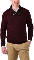 Haggar Contrast Shawl Collar with Toggle Sweater -