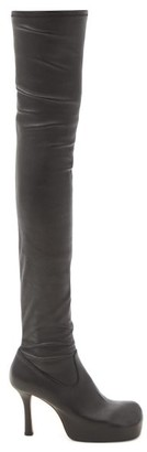 Bottega Veneta Bold Square-toe Leather Over-the-knee Boots - Black