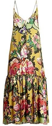 Dries Van Noten Spaghetti Strap Drop-Hem Floral Midi Dress