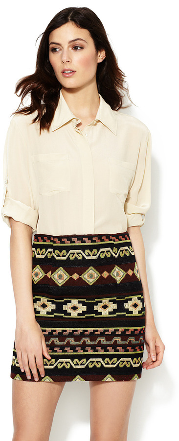 Chelsea Flower Silk Cropped Roll-Up Shirt