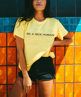 Life Clothing Co. LIFE Clothing Co. Women's Tee Shirts Mustard - Mustard 'Be a Nice Human' Crewneck Tee - Women