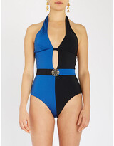 Myla Richmond Mews halterneck panelled belted swimsuit