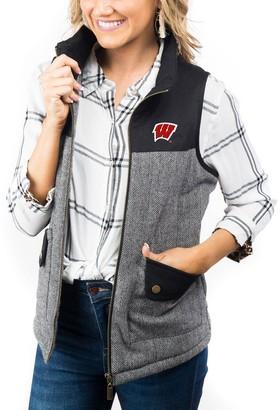 Women's Black Wisconsin Badgers Prep For It Herringbone Knit Full-Zip Vest