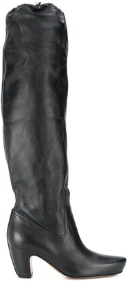 Lanvin Brushed Leather Almond Boots