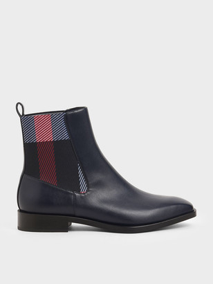 Charles & Keith Two-Tone Mini Square Toe Chelsea Boots