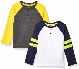 Spotted Zebra 2-pack Long-sleeve Henley Shirts Blue/Stripe 2T Pack of 2