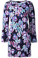 Lands' End Womens Petite Starfish Boatneck Tunic Top-True Navy Digital Floral