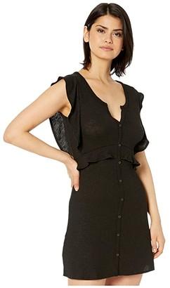 BB Dakota Knit Dress with Front Button Faux Placket (Black) Women's Dress