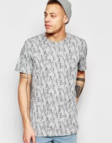 WÅVEN T-Shirt Lucas Crew Neck All Over Camo Logo Print