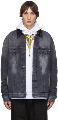 Marcelo Burlon County of Milan Grey Denim Vintage Wash Jacket