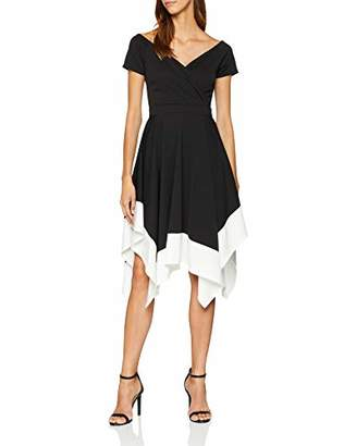 Quiz Women's Black Marcella Bardot White Trim Asymetric DIP Hem Dress Skirt, (Size:8)