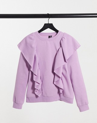 Vero Moda sweat with ruffles in lilac