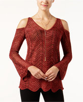 INC International Concepts Cold-Shoulder Scalloped Sweater, Only at Macy's