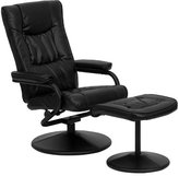 FlashFurniture Contemporary Leather Soft Recliner/Ottoman with Wrapped Base, Black