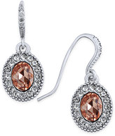 Charter Club Silver-Tone Pavé & Pink Stone Drop Earrings, Only at Macy's