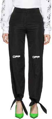 Off-White Black Nylon Bow Lounge Pants