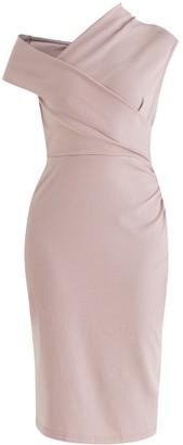 Paisie Dove Wrap Dress In Blush