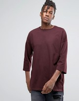 Asos Oversized 3/4 Sleeve T-Shirt In Oxblood