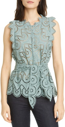 Rebecca Taylor Mina Cotton Eyelet Sleeveless Blouse