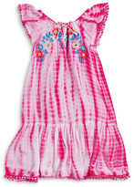 Flapdoodles Girls 2-6x Girls Embroidered Tie-Dye Dress