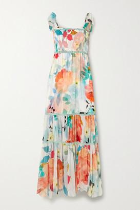 Charo Ruiz Ibiza Lilian Crochet-trimmed Shirred Floral-print Chiffon Maxi Dress - Blue