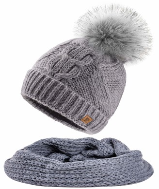 MFAZ Morefaz Ltd Set Scarf & Hat Mohair Wool Women Winter Beanie Hat Worm Knitted Hats Fleece Pom Pom (Set Scarf&Hat Grey)