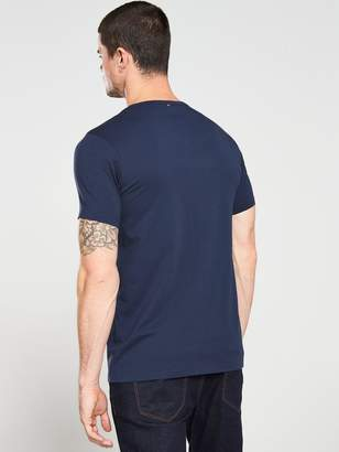 Pretty Green Paisley Embroidered Logo T-Shirt - Navy