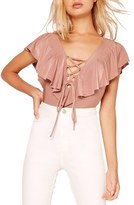 Missguided Lace-Up Ruffle Bodysuit
