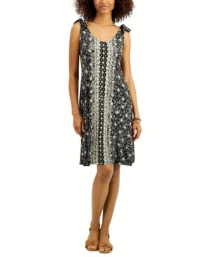 Style&Co. Style & Co Printed Tie-Shoulder Dress, Created for Macy's