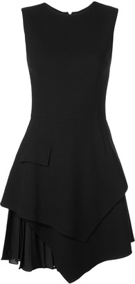 Oscar de la Renta layered-skirt fitted dress
