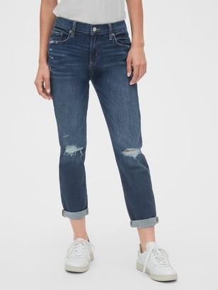 Gap Mid Rise Distressed Girlfriend Jeans