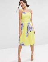 Asos Large Floral Printed Pinny Midi Dress