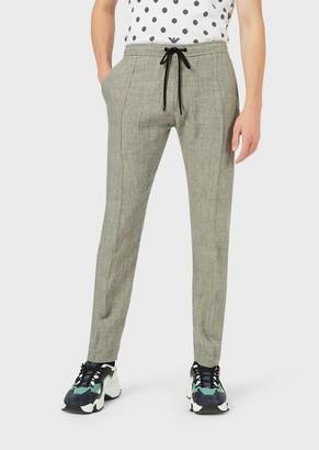 Emporio Armani Linen-Tweed Drawstring Trousers