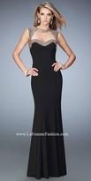 La Femme Studded Open Back Sweetheart Prom Gown