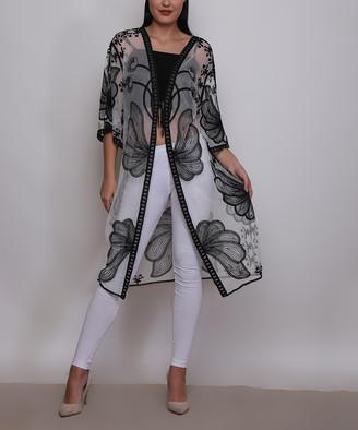 Jessica Taylor Women's Kimono Cardigans WHITE/BLACK - Black Floral Lace Sheer Kimono - Women