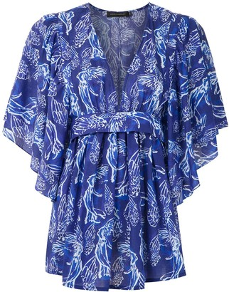 Andrea Marques Printed Tie Waist Blouse