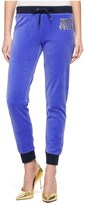 Juicy Couture Logo Velour Juicy Flag Slim Pant