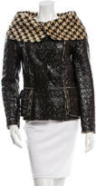 Oscar de la Renta Coated Houndstooth Jacket