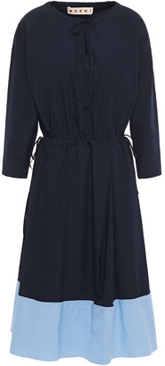 Marni Pleated Two-tone Cotton-poplin Dress