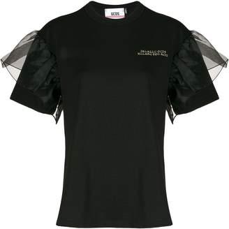 GCDS ruffled tulle-embellished T-shirt